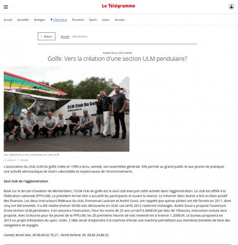 Le Telegramme_6_juin_2012 Vers la création d'une section ULM pendulaire