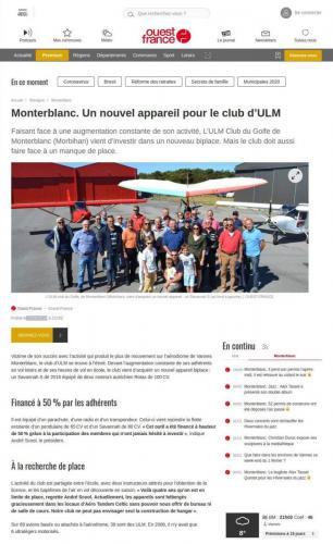 Ouest-France_ 25_juin_2018 Un nouvel appareil pour le club ULM