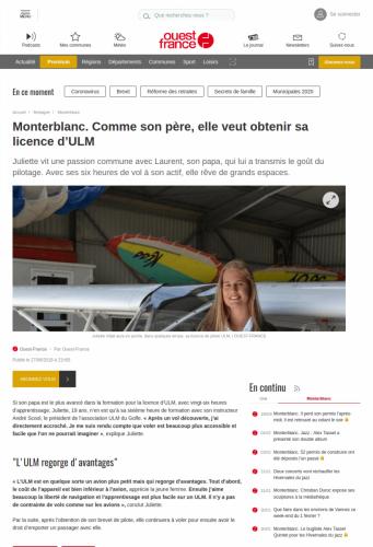 Ouest-France_ 27_juin_2018 Monterblanc Comme son père, elle veut obtenir sa licence d'ULM