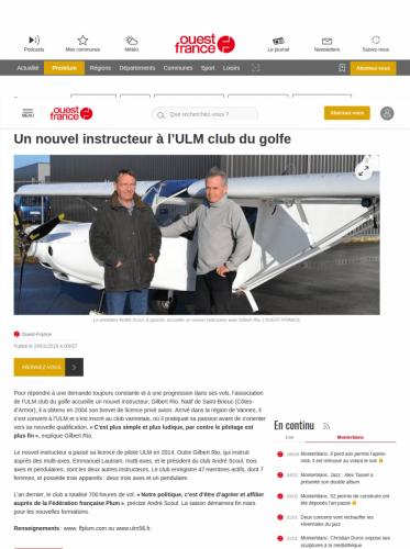 Ouest-France_24_janvier_2019 Un nouvel instructeur à l'ULM club du golfe